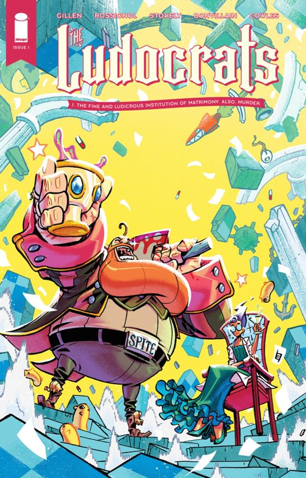 The cover of Ludocrats #1 published by Image Comics with a creative team of Kieron Gillen, Jim Rossignol, Jeff Stokely, Tamra Bonvillain, and Clayton Cowles.