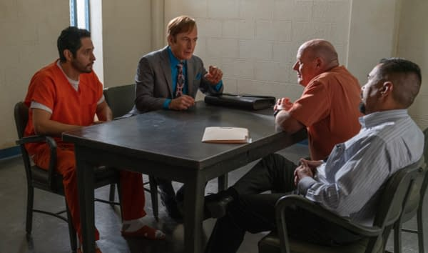 Hank and Jimmy/Saul meet for the first time on Better Call Saul, courtesy of AMC.