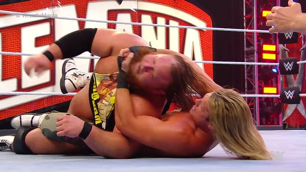 Dolph Ziggler chokes out Otis at WrestleMania 36.