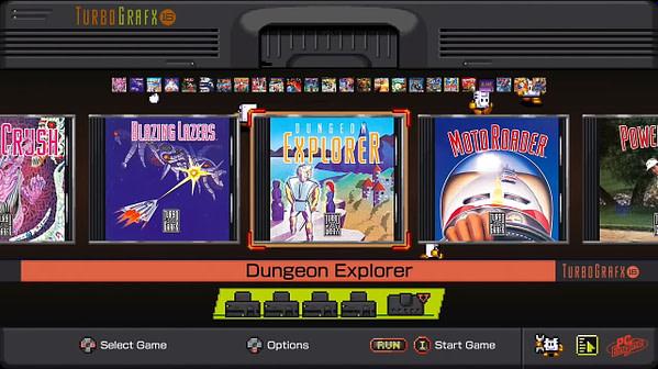 Un regard sur l'écran de sélection des jeux.