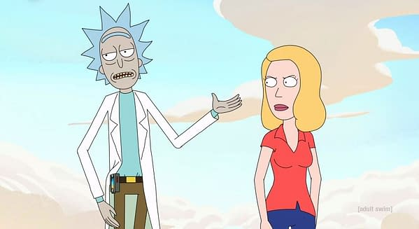 Rick is not making Beth happy in Rick and Morty, courtesy of Adult Swim.