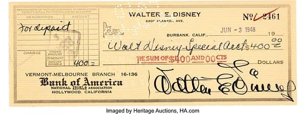 Walt Disney Signed Check from Heritage Auction House.