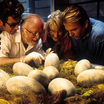 Jeff Goldblum, Richard Attenborough, Laura Dern, and Sam Neill in Jurassic Park (1993). Image courtesy of Universal Pictures