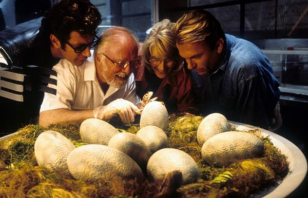 Jeff Goldblum, Richard Attenborough, Laura Dern, and Sam Neill in Jurassic Park (1993). Image courtesy of Universal Pictures
