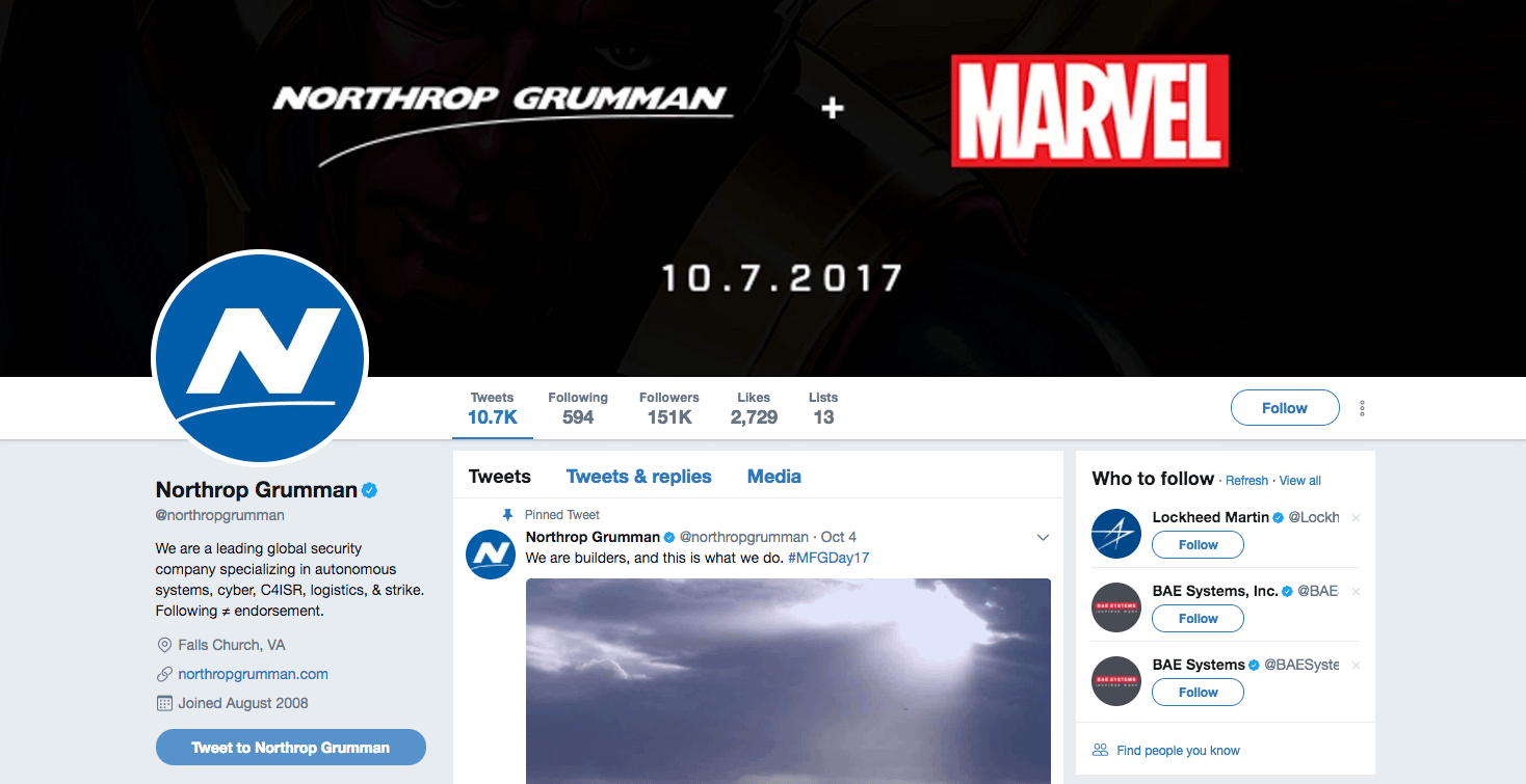 Marvel Announces Promotion With Arms Manufacturer Northrop Grumman At NYCC