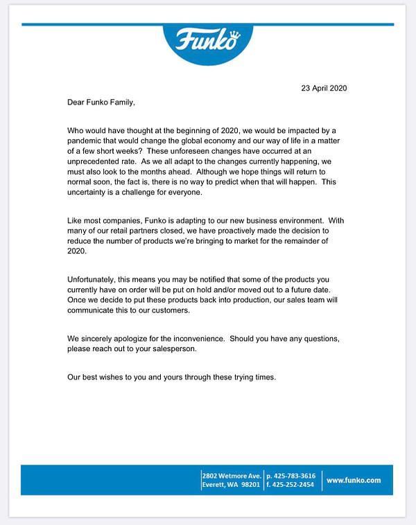 Déclaration du détaillant Funko