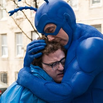 Peter Serafinowicz and Griffin Newman in The Tick (2017). Image Credit: Amazon.