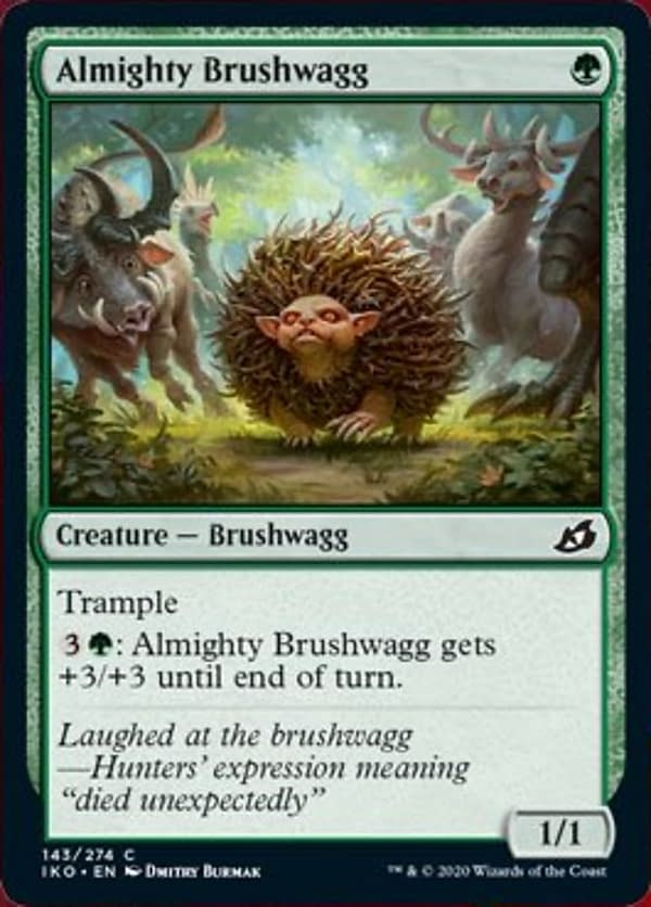 Almighty Brushwagg, a new card from the Ikoria: Lair of Behemoths set for Magic: The Gathering.