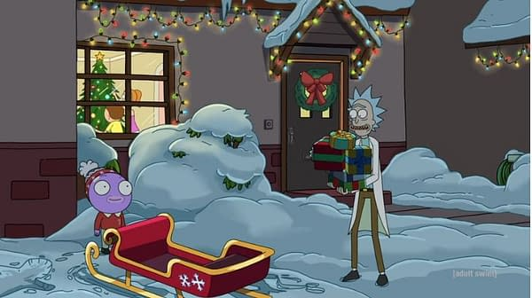 Rick and Goomby make it back in time for Christmas on Rick and Morty, courtesy of Adult Swim.