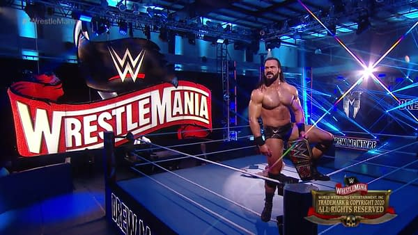Drew McIntrye closes out WrestleMania 36 Night Two as WWE Champion before challenging Tyson Fury the next day, courtesy of WWE.