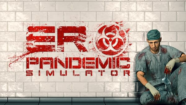 The logo and art for ER Pandemic Simulator, a new indie game by Movie Games.