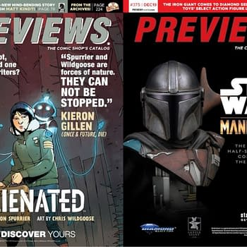Si Spurrier and Chris Wildgoose's Alienated on Front Cover of Next Week's Diamond Previews Catalogue, Mandalorian on the Back