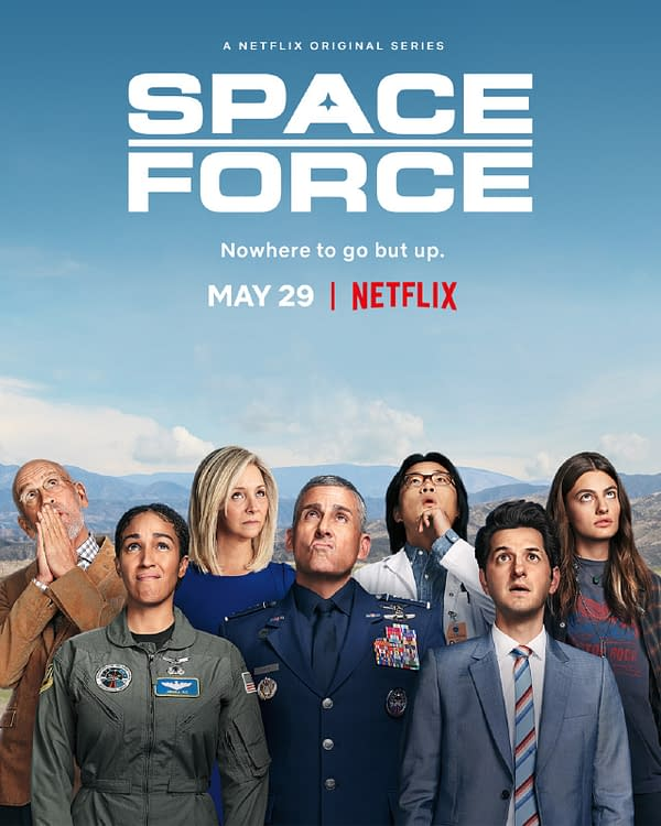 Steve Carell stars in Space Force, launching on May 29 (image courtesy of Netflix).
