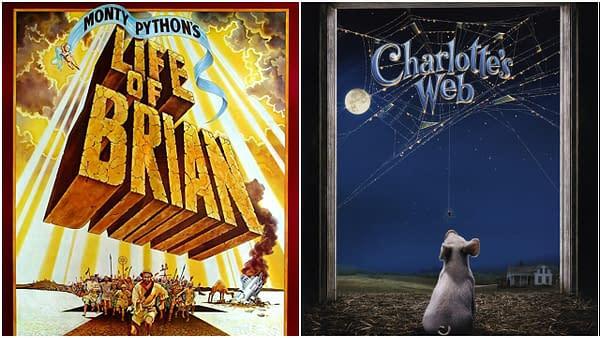 L_R: Les affiches officielles de Life of Brian de Monty Python (1979) et Charlotte's Web (2006).