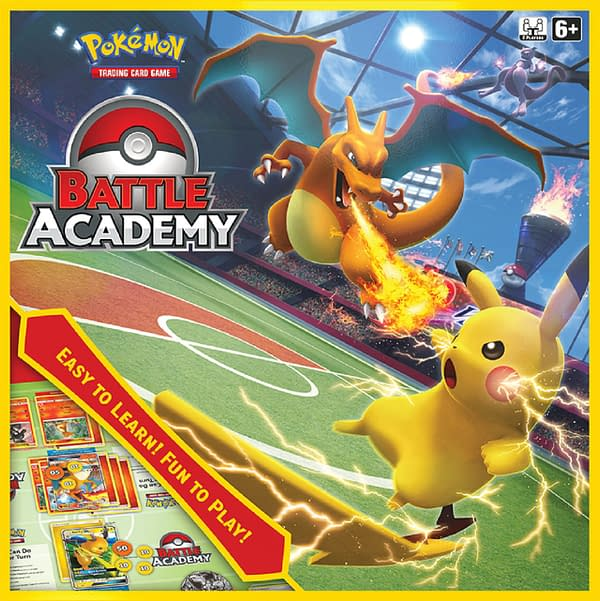The box art for the Pokémon Trading Card Game Battle Academy, featuring Charizard, Mewtwo, and, of course, Pikachu.