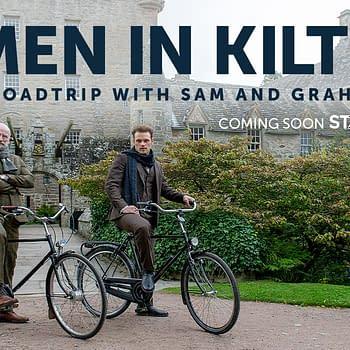 Outlander stars Sam Heughan and Graham McTavish host Men in Kilts: A Roadtrip with Sam and Graham (Image: STARZ).