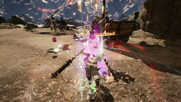 A screenshot from Hunter's Arena Legends, developed and published by Mantisco, showcasing combat.