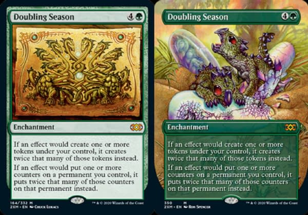 The main and alternate art for Doubling Season from Double Masters, an upcoming Magic: The Gathering set.