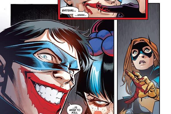 It's Punchline Vs Batgirl in Nightwing #72.