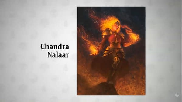 The artwork for Chandra's card in Core 2021. Illustrated by Josu Hernaiz.
