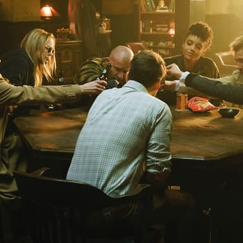"Legends of Tomorrow -- ""I Am Legends"" -- Image Number: LGN513b_0064b.jpg -- Pictured (L-R): Jes Macallan as Ava Sharpe, Caity Lotz as Sara Lance/White Canary, Dominic Purcell as Mick Rory/Heatwave, Maisie Richardson-Sellers as Charlie, Matt Ryan as Constantine, Tala Ashe as Zari and Nick Zano as Nate Heywood/Steel -- Photo: Jeff Weddell/The CW -- © 2020 The CW Network, LLC. All Rights Reserved."