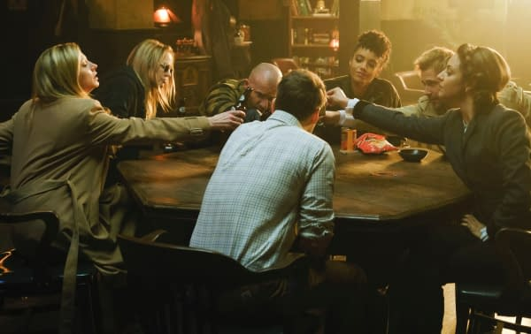 Jes Macallan as Ava Sharpe, Caity Lotz as Sara Lance/White Canary, Dominic Purcell as Mick Rory/Heatwave, Maisie Richardson-Sellers as Charlie, Matt Ryan as Constantine, Tala Ashe as Zari and Nick Zano as Nate Heywood/Steel -- Photo: Jeff Weddell/The CW -- © 2020 The CW Network, LLC. All Rights Reserved.