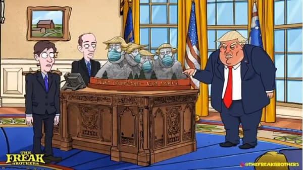 Donald Trump veut savoir qui a mis des masques sur le mont. Trumpsmore, gracieuseté de The Freak Brothers.