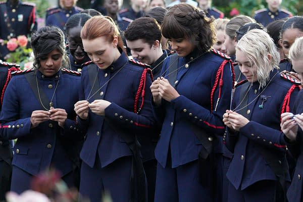 """""""Witchbomb"""" - Raelle, Abigail, and Tally graduate from Basic Training, making Abigail more desperate than ever to prove her unit belongs in War College. Alder eyes the unit for a rescue mission while Anacostia and Scylla find common ground. The season finale of """"Motherland: Fort Salem"""" airs Wednesday, May 20, at 9:00p.m. ET/PT on Freeform. (Freeform/David Bukach) ANNIE JACOB, JESSICA SUTTON, ASHLEY NICOLE WILLIAMS, TAYLOR HICKSON"""