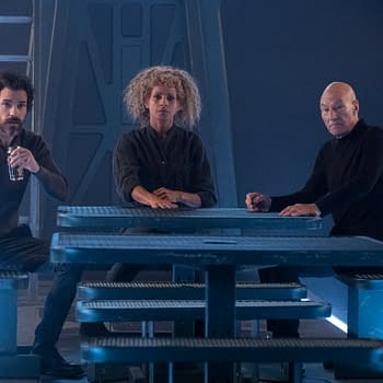 Santiago Cabrera as Crist--bal Rios; Michelle Hurd as Raffi; Sir Patrick Stewart as Jean-Luc Picard of the CBS All Access series STAR TREK: PICARD.