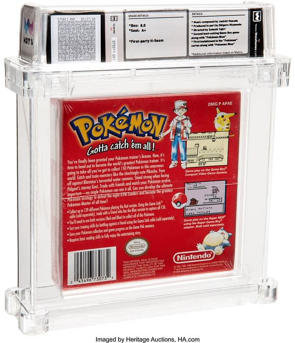 The back of the Wata-graded 8.0 A+ English copy of the Pokémon Red Version game for Game Boy Color, on auction at Heritage Auctions.