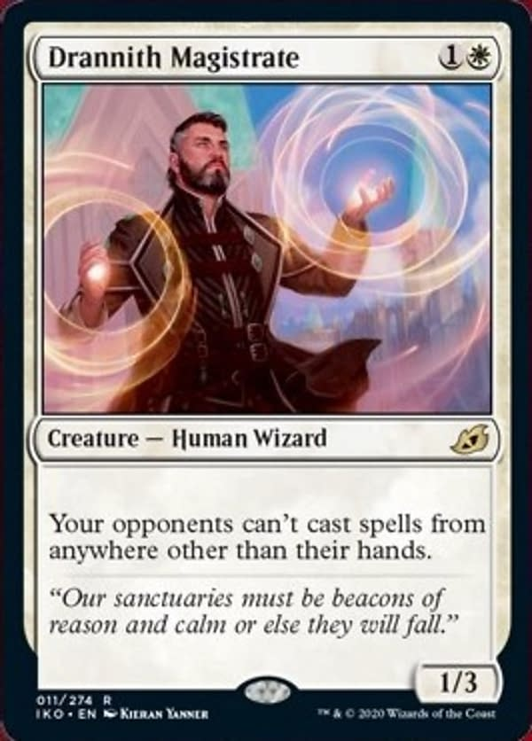 Drannith Magistrate, a card from Magic: The Gathering's newest expansion, Ikoria: Lair of Behemoths.