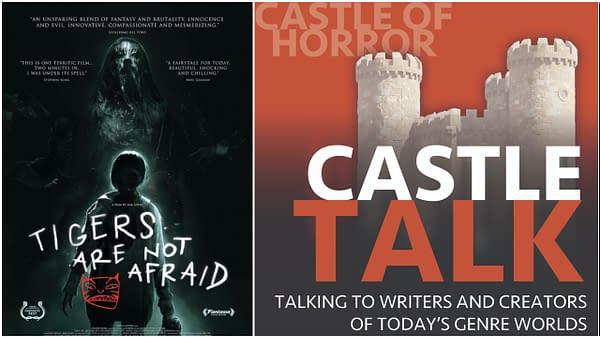 L'affiche officielle des tigres n'a pas peur et le logo du podcast Castle Talk