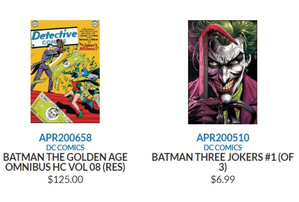 Diamond Removes GEM from Three Jokers and Other DC Comics.
