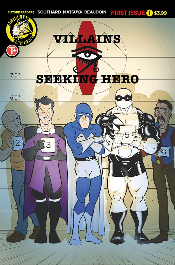 The cover to Villains Seeking Hero #1 from Action Lab, with art by Ben Matsuya.
