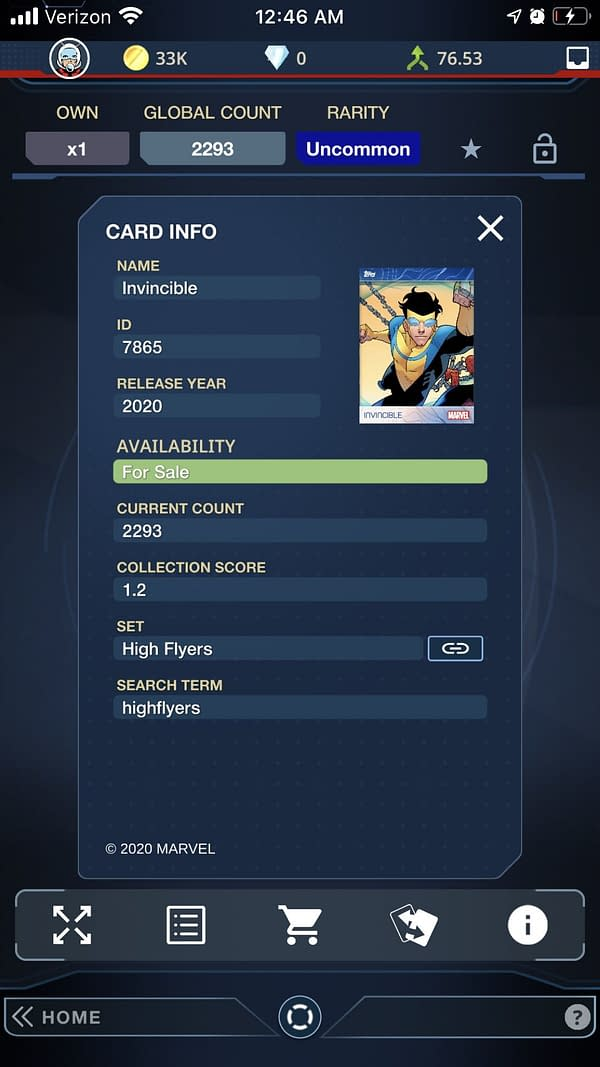 Invincible Card Information
