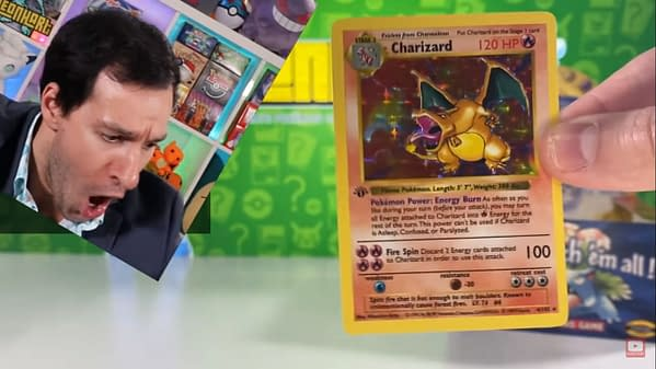 Leonheart's initial reaction to finding a First Edition Charizard in his Base Set Pokémon pack.