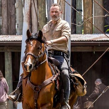 Andrew Lincoln as Rick Grimes, Danai Gurira as Michonne- The Walking Dead _ Season 9, Episode 1 - Photo Credit: Jackson Lee Davis/AMC