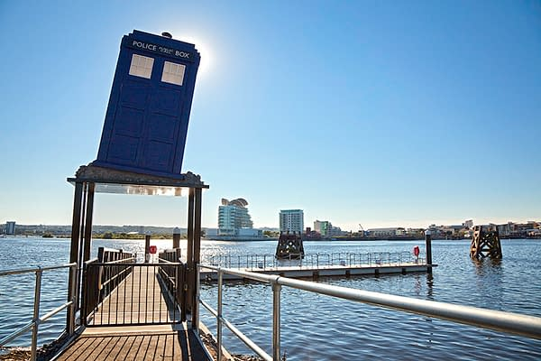 Tardis on jetty Doctor Who Experience Exterior view Porth Teigr Cardiff Bay South Tourist Attractions