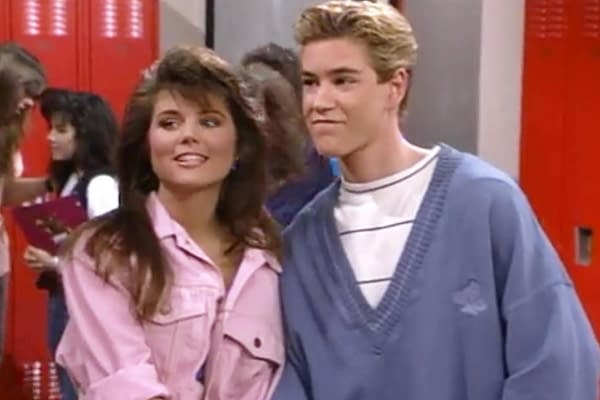 Tiffani Thiessen and Mark-Paul Gosselaar reprise their roles as Kelly Kapowski and Zack Morris in the Saved by the Bell sequel, courtesy of NBC Universal.