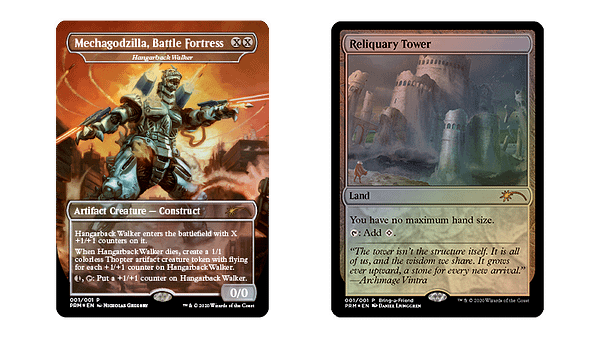 """A better look at the Hangarback Walker and Reliquary Tower promotional cards from the """"Love Your Local Game Store"""" program for Magic: The Gathering."""