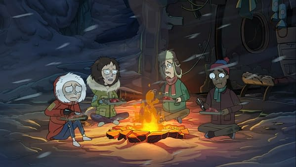Morty survives the plane crash on Rick and Morty, courtesy of Adult Swim.