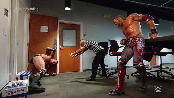 Edge and Randy Orton battle backstage at WrestleMania 36, courtesy of WWE.