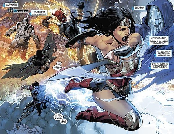 Wonder Woman #50 art by Stephen Segovia, Jesus Merino and Andy Owens, Emanuela Lupacchino and Ray McCarthy, Romulo Fajardo Jr., and Chris Sotomayor