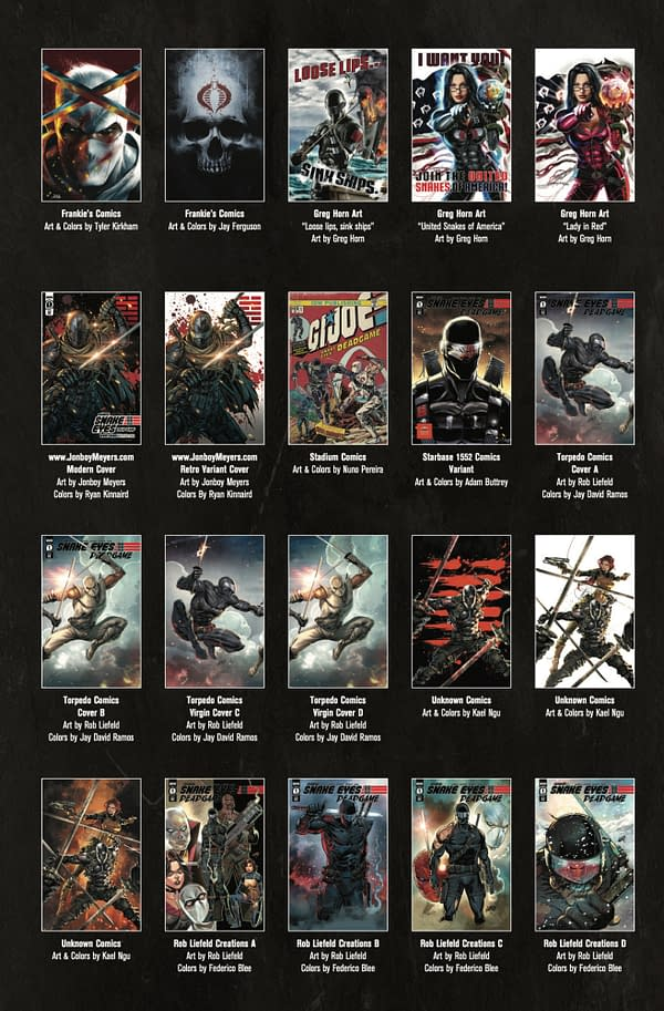 Snake Eyes: Deadgame will have 36 variants, an obvious Cobra plot.