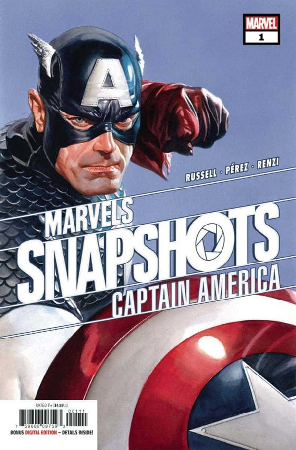 The cover of Captain America Marvel's Snapshot #1 published by Marvel Comics with the creative team of Mark Russell, Ramon Perez, Rico Renzi, and Joe Sabino.