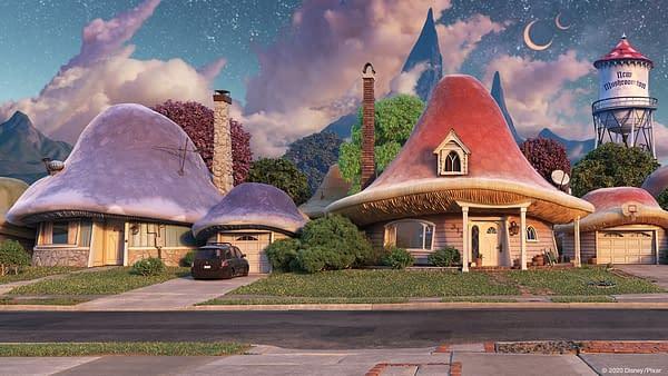 New Mushroomton from Pixar's Onward.