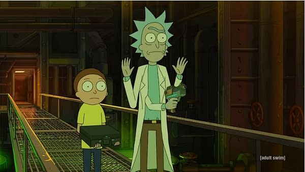 Rick and Morty get double-crossed, image courtesy of Adult Swim.