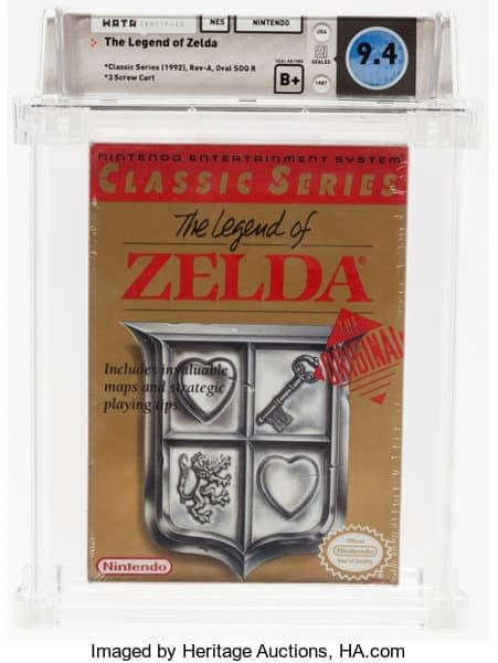 Original Legend of Zelda Cartridge Sells for Over $3K at Heritage Auctions