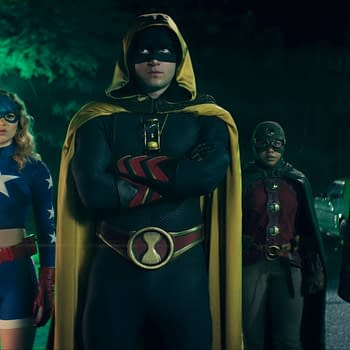 "Stargirl -- ""The Justice Society"" -- Image Number: STG106d_0001b.jpg -- Pictured (L-R): Brec Bassinger as Stargirl, Cameron Gellman as Hourman, Anjelika Washington as Dr. Mid-Nite and Yvette Monreal as Wildcat -- Photo: The CW -- © 2020 The CW Network, LLC. All Rights Reserved."