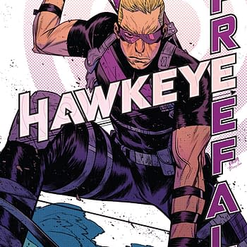 The cover to Hawkeye: Freefall #5, only available digitally due to coronavirus cost-cutting measures.